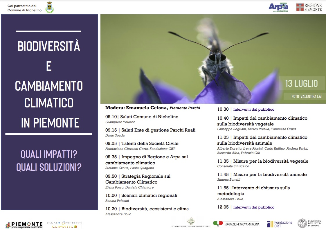 Domani incontro sulla biodiversità ed il cambiamento climatico in Piemonte
