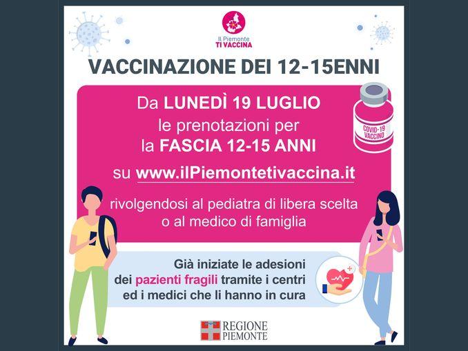 33.145 vaccinati oggi in Piemonte, da domani al via le pre-adesioni per i 12-15enni