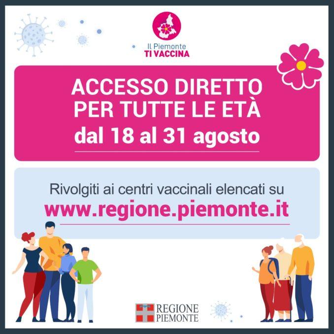 Vaccini: in Piemonte fino al 31 agosto accesso diretto per tutti