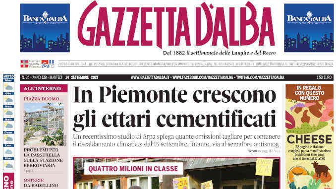 La copertina di Gazzetta d'Alba in edicola martedì 14 settembre