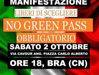 No green pass, sabato manifestazione a Bra